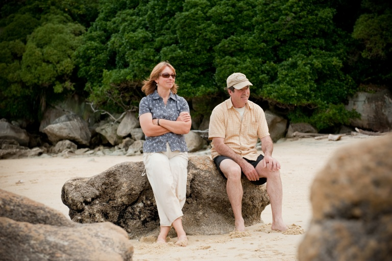 Terri & Jim Everett Owners of-Moonrake-Nz-Accommodation-split apple rock